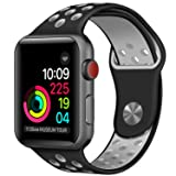 Apple Watch Band 42mm Silicone for Series 3 2 1 iwatch Band Black/Gray
