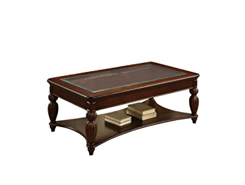 Furniture of America Ochoro Coffee Table with 5mm Beveled Tempered Glass Top, Dark Cherry Finish