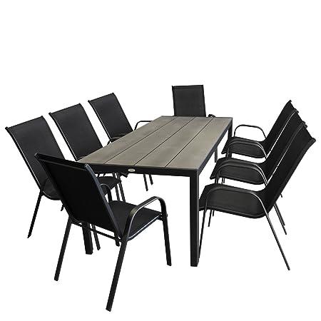 9tlg. Gartenmöbel-Set Gartentisch, Aluminium, Tischplatte Polywood, Grau, 205x90cm + 8x Stapelstuhl, Textilenbespannung, Schwarz - Sitzgarnitur Sitzgruppe Gartengarnitur