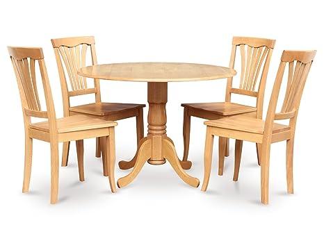 East West Furniture DLAV5-OAK-W 5-Piece Kitchen Table Set, Oak Finish
