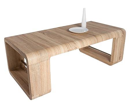 """HL Design 01-03-231.2 Couchtisch """"Mandy"""", 8001200 x 600 x 420 cm, Sonoma Eiche hell, Materialstärke 40 mm, Kanten gerundet, Ablage als Tischvergrößerung einsetzbar"""