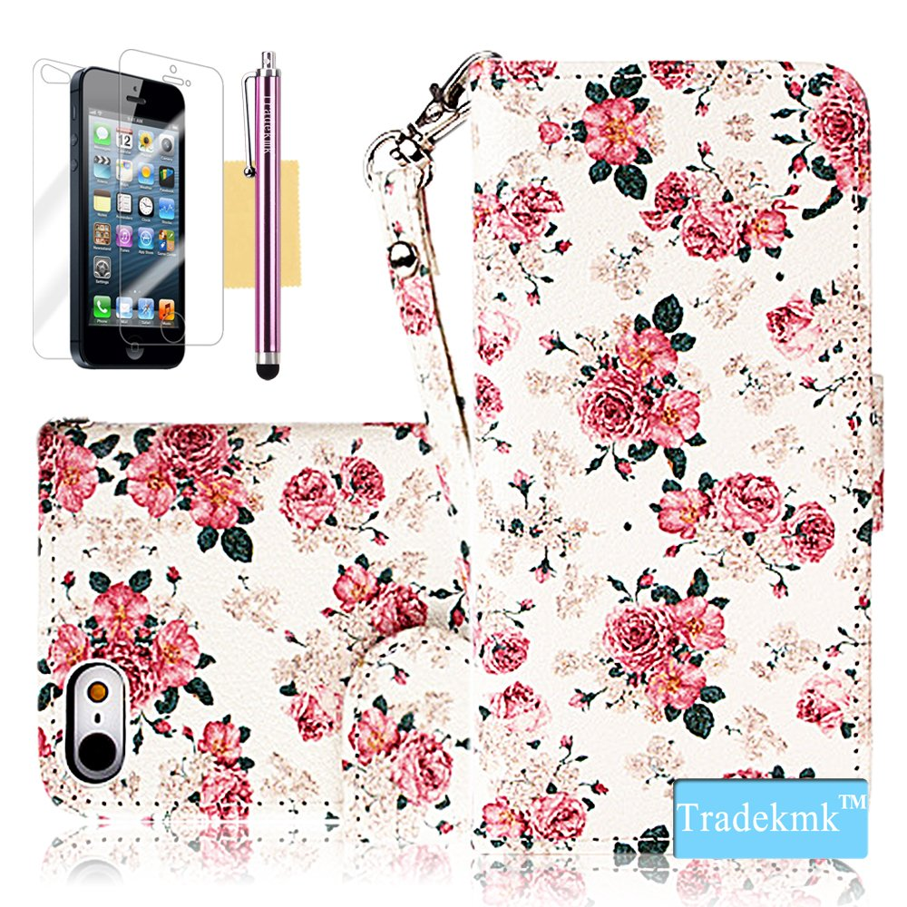 iPhone 5S Case, iPhone 5 Case, Tradekmk(TM) Brand New Luxury Fashion Premium PU Leather Slim Fit [Elegant Floral] Folio Magnet Wrist Strap Wallet Stand Case Cover with Card Holders Compatible with Apple iPhone 5/5S/5G-[+Stylus+Screen Protector+Cleaning Cloth]