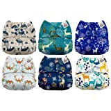Mama Koala One Size Baby Washable Reusable Pocket Cloth Diapers, 6 Pack with 6 One Size Microfiber Inserts (Tranquil Deer) (Color: Tranquil Deer, Tamaño: One Size)