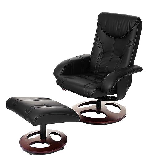 Relaxsessel Oxford, Fernsehsessel Sessel mit Hocker, Kunstleder ~ schwarz