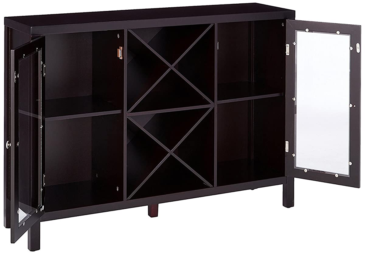 Kings Brand Furniture Wood Wine Rack Console Sideboard Table with Storage, Espresso