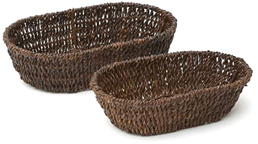 Abaca Oval Baskets Set of 2 by Woodard & Charles