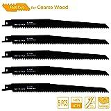 TAROSE 9-Inch 6 TPI HCS Reciprocating Saw Blades Set For Wood Plunge Cuts, 5-Piece (Tamaño: 9