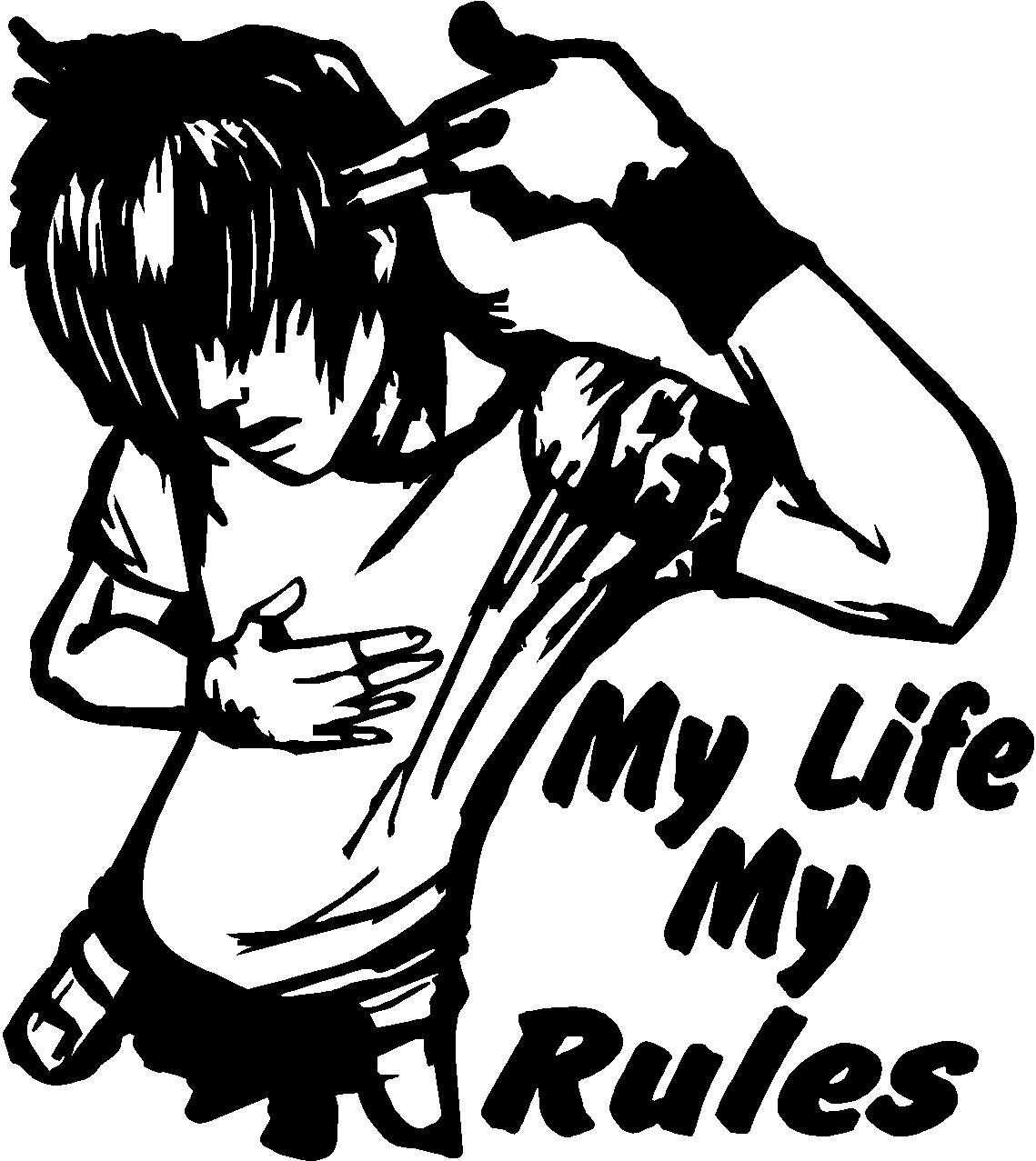 Design a bike sticker - Indiashopers My Life My Rule Windows Sides Hood Bumper Car Sticker Black