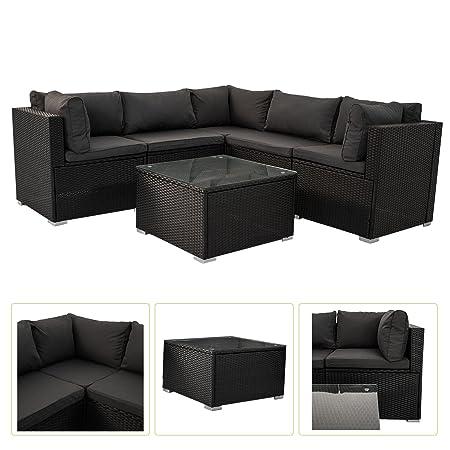 Polyrattan Gartenmöbel Lounge Sitzgruppe Nassau mit Bezugen in Dunkelgrau