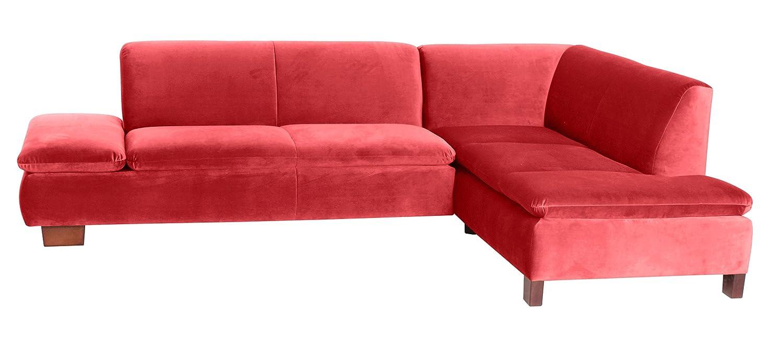 Coolnezz 25372-263-2044223 Sofa Toni mit Ecke rechts, 190 x 273 x 75 cm, Samtvelour, rot
