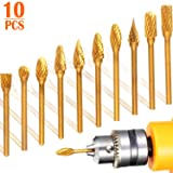 Titanium Carbide Burr Set of 10, STARVAST Double Cut Rotary Burr Set with 1/8 inch Shank 1/4 inch Head Size Die Grinder Bits Rotary Files for Woodworking, Metal Carving, Engraving, Drilling, Polishing (Color: 6mm Head / 3mm Shaft)