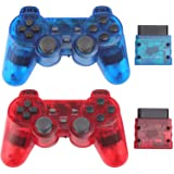 Wireless Controller for PS2 Playstation 2 Dual Shock 2 - ClearBlue and ClearRed (Color: ClearBlue and ClearRed)