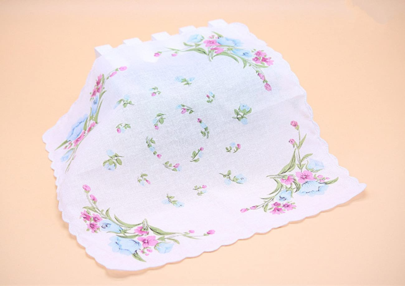 Colorful Women Quadrate Floral Handkerchiefs Wedding Party Fabric Hankies 1