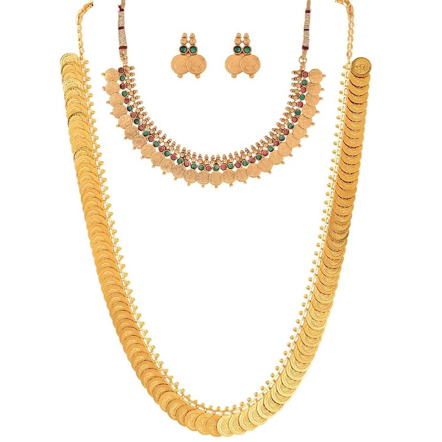 Gold long necklace design with price - Youbella Jewellery Gold Plated Coin Necklace Set And Red Green Coin Jewellery Set With Earrings For Women