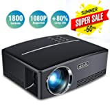 Aidodo Projector Mini Video Projectors LED 1800 Lumens Multimedia Home Theater Projector Portable Support 1080p HDMI USB SD Card VGA AV for Home Cinem