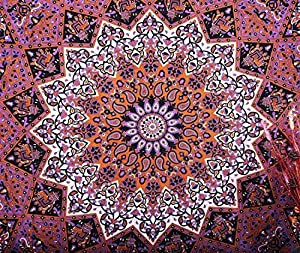 Kayso Hippie Star with Psychedelic Sun Moon Bohemian Mandala Tapestries Throw Queen Bedspread