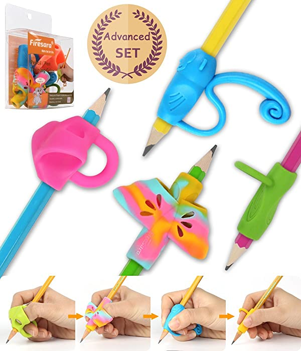 Firesara Advanced Pencil Grip Set, Original Ergonomic Handwriting Aids Pencil Grips Writing Posture Corrector 4 Assorted Pencil Grips for Kids Children Adults Special Needs Rights (Color: B(elephant/2 Wing Butterfly/Monkey/Ring), Tamaño: Multiple B)
