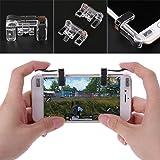 Fucung 1Pair PUBG Mobile Game Fire Button Aim Key Smart phone Gaming Trigger L1 R1 Shooter Controller Transparent V3.0 (Color: Transparent)