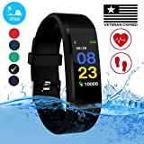 Burn-Rate Fitness Tracker, Heart Rate Monitor - Smart Watches for Women & Men, Color Smart Watch Bracelet. Reloj Inteligente Pedometer, Distance Activity for Android & iPhones iOS (Color: Midnight Black)