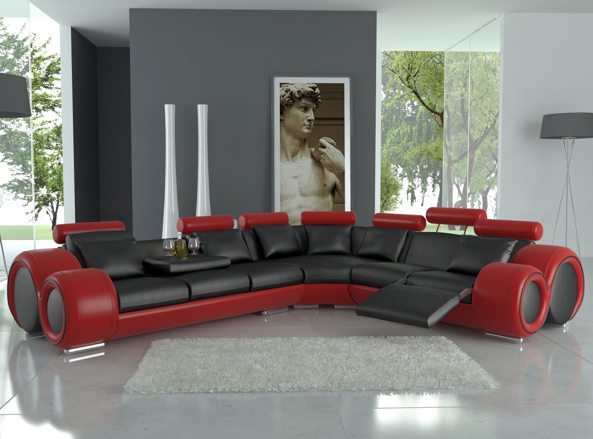 Modern Franco Leather Sectional Sofa - Black /Red