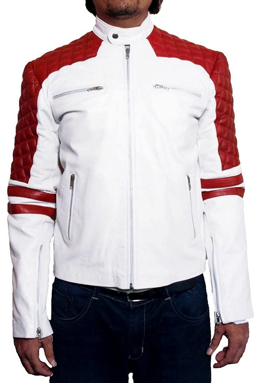 Men's Crazy Sheep White Leather Jacket