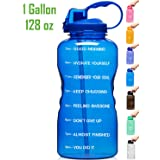Venture Pal Large 1 Gallon/128 OZ Motivational BPA Free Leakproof Water Bottle with Straw & Time Marker Perfect for Fitness Gym Camping Outdoor Sports-Deep Blue (Color: 01.Blue (1Gallon))