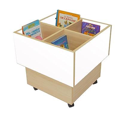 Mobeduc 602103HR23 libreria-Secchio per bambini, in legno, colore: faggio/bianco, 60 x 60 x 60 cm