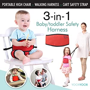 Travel High Chair + Portable High Chair + Toddler Safety Harness + Shopping Cart Safety Strap. Winner of 3 AWARDS! Mom's Choice, Preferred Choice & Family Choice! Space-Saver High Chair-Great for Travel/Home-Red