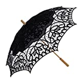 Topwedding Women's Cotton Lace Parasol with A Longer Wood Post Handle (Color: Black, Tamaño: onesize)