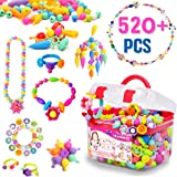 FunzBo Snap Pop Beads for Girls Toys - Kids Jewelry Making Kit, Pop-Bead Art and Craft Kits DIY Bracelets Necklace Hairband and Rings Toy - Best Gift for Age 3 4 5 6 7 8 Year Old