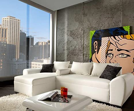 Couch Rudy Weiss 260x160 cm Ottomane variabel Ecksofa