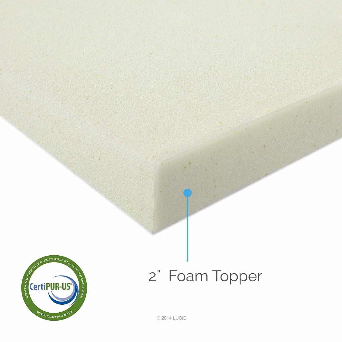 LUCID 2 Inch Foam Mattress Topper Twin size 3-Year Warranty