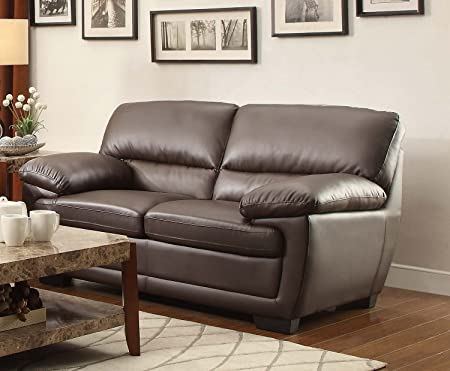Homelegance Adrian Love Seat In Dark Brown Bi-Cast Vinyl