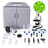 TELMU Microscope for Kids and Beginners Includes 70pcs+ Accessory Set, 300X-600X-1200X Magnification with Metal Arm and Base, Boys and Girls Microscope Play Toy (Tamaño: Beginner)
