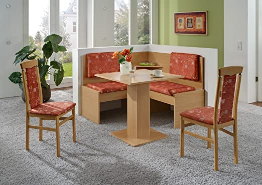 Dreams4Home Eckbankgruppe 'Lori' Essgruppe 125 x 125 x 93 cm Tisch 2 Stuhle modern Buche Dekor terracotta Eckbank Kuchentisch 4-teilig Landhaus Kuche