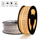 LED Strip Light Warm White 3000K Super Bright Dimmable, Cuttable & Waterproof Flex 110V High Voltage LED Lighting Strip Kit with Power Cord for Indoor Outdoor, 60 LEDs/Meter 82FT/25M SMD2835 (Color: Warm White, Tamaño: 25m)