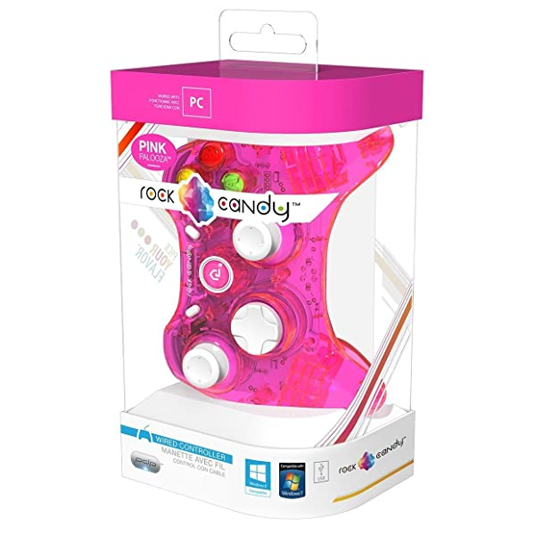 PDP Rock Candy Wired Controller for PC, Pink Palooza (904-004-NA-PK) (Color: Pink)