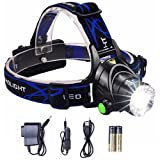 Lightess Headlamp LED Headlight Rechargeable Zoomable Head Lamp Waterproof Hand Free Torch Light (Color: Blue)