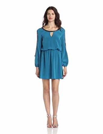 Madison Marcus Women's Bold Sequin Trim Cold Shoulder Dress, Peacock, X-Small