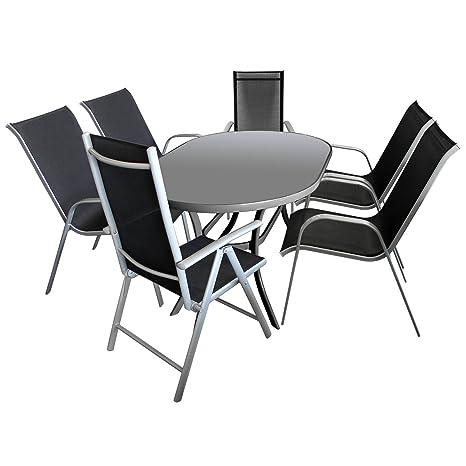 7tlg. Gartenmöbel Gartengarnitur Aluminium Glastisch 140x90cm oval + 4x Stapelstuhl Textilenbespannung + 2x Hochlehner Textilenbespannung 7-Positionen verstellbar