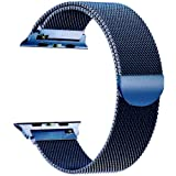 Tirnga Compatible with Apple Watch Band 42mm, iWatch Bands 42mm Milanese Loop Replacement for Series 3 2 1 Blue (Color: Blue, Tamaño: 42 mm)