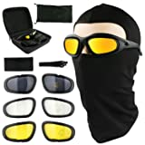 Motorcycle Riding Glasses UV400 Bicycle Safety Goggles Eyes protection Black Frame with 4 Pairs Lenses Come with a Balaclava Tactical Face Mask Outdoor Sports Motorcycle Sunglasses Goggles (Color: Lenses: Gray, Colorful, Yellow, Clear, Tamaño: ?Frame width: 5.9in)