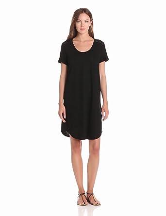 VELVET BY GRAHAM & SPENCER Women's Cotton Hemp Short Sleeve Tee Shirt Dress, Black, Petite