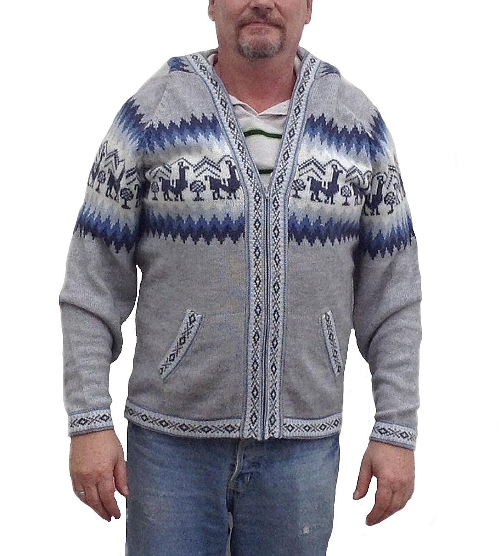 Alpacaandmore Unisex graue Kapuzen Strickjacke Alpakawolle Inka Design