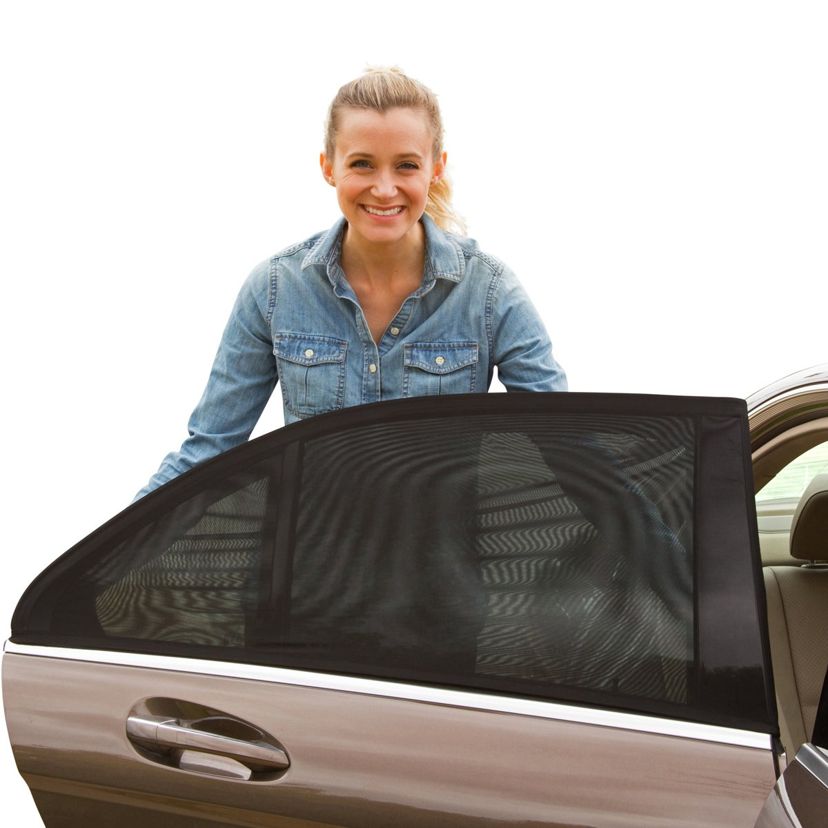 ShadeSox Universal Fit Car Side Window Baby Sun Shade | Protects Your Baby and Older Kids from the Sun, Fits All (99%) Cars! Most SUVs! (2 Piece) | Travel eBook Included