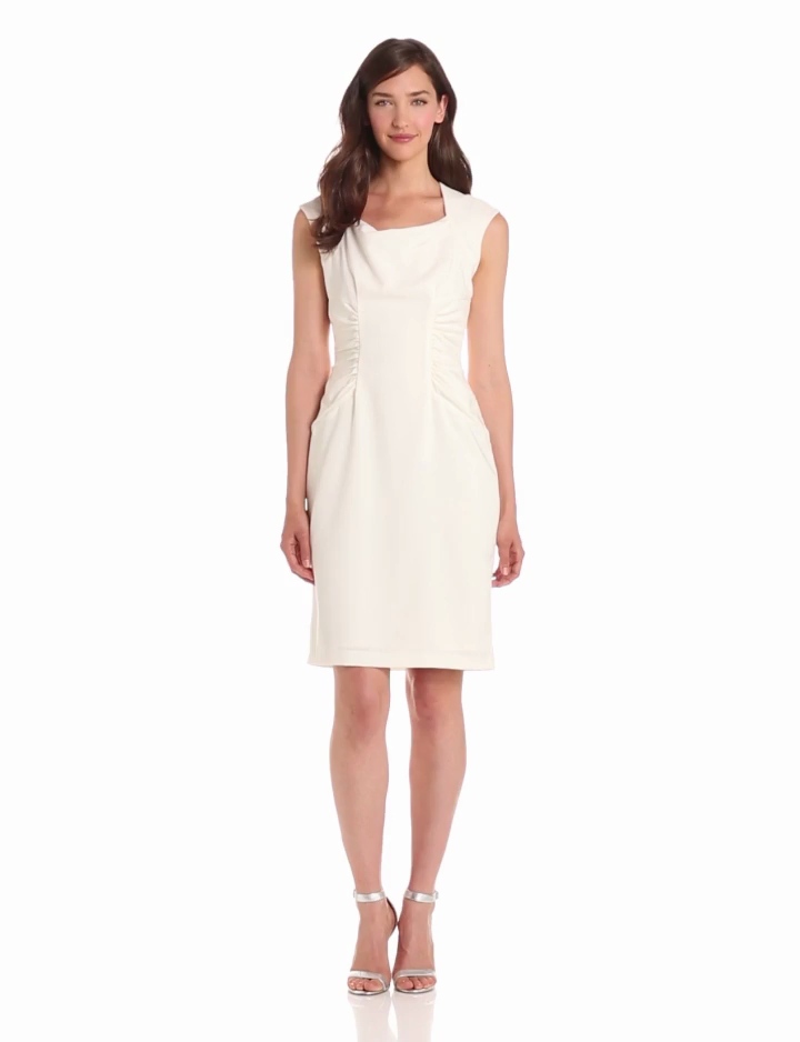 Adrianna Papell Womens Woven Side Rouched Dress