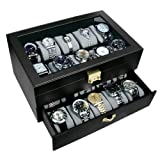 Ikee Design Deluxe Black Watch Display Case With Key Lock, Clear Glass Top, 20 Watch Holders. (Gold color keylocker) (Color: Black/Gold Keylock)
