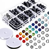 Paxcoo 512pcs Lava Beads Stone Rock with Chakra Beads and Spacer Beads for Essential Oil and Jewelry Making (Color: Multicolored, Tamaño: 512 Pcs)