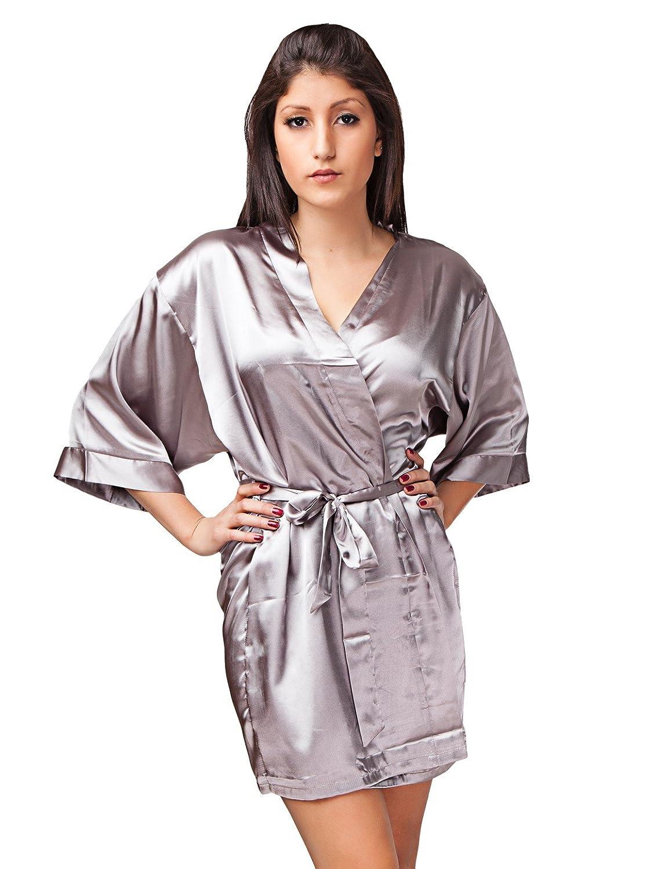 24brands Damen Kimono Morgenmantel Satin-look Negligee Hausmantel Nachtwäsche Seidenrobe kurz in S-XL - 1674