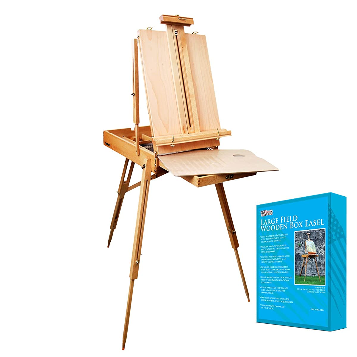 "US Art Supply Coronado French Style Easel & Sketchbox with 12"" Drawer, Wooden Pallete & Shoulder Strap"